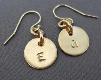 Initial Earrings Gold -Gold Fill Earrings - Personalized Initial Gold Earrings -  E121