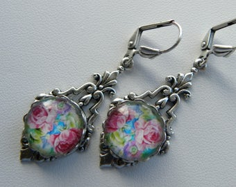 Pink Roses Earrings, Turquoise Blue Aqua Aquamarine Silver Earrings, Long Colorful Shabby Chic Roses Earrings, Pink and Blue Earrings, Roses