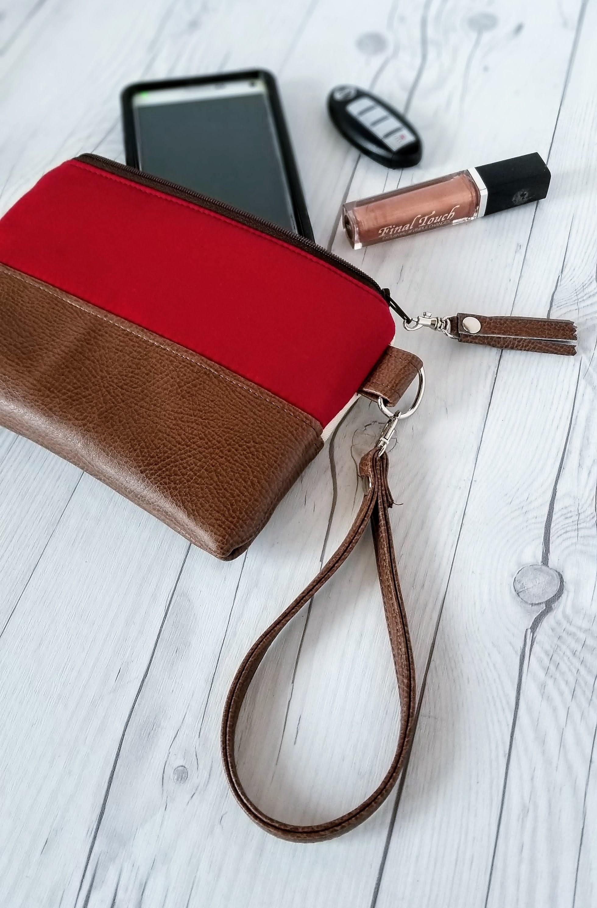 Tan Red Wristlet - Wristlet Wallet - Womens Wallet - Faux Leather ... b7c72531bdbc0
