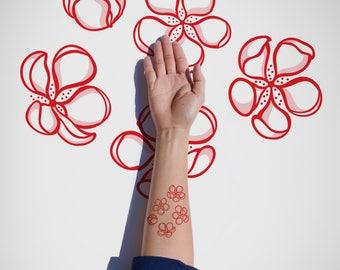 Cherry Blossom Temporary tattoo / Decorative Flowers Temporary Tattoo / Blooming Flowers Flash Tattoo / Spring Flash Tattoo / Body Sticker