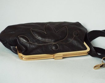 Leather evening frame clutch. Black evening purse. Leather frame purse. Black leather bag.