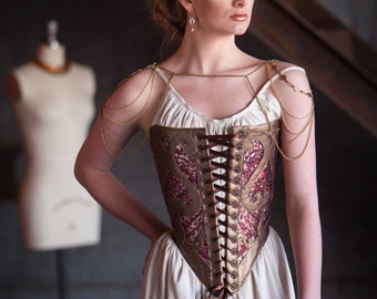 SAMPLE SALE XS Corset Bodice Avant Garde Tudor Inspired Corselet, Leather and Sequins, 16th century, burlesque, theatre, halloween, costume