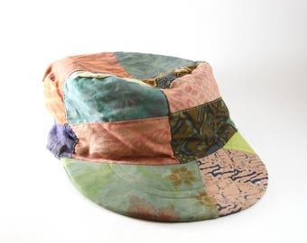 Boho Patchwork Handmade Women's Cadet Cap // Iguana Inc Hat // Hand Made in Indonesia