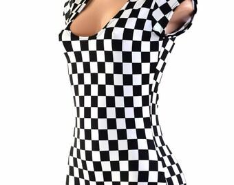 Black & White Checkered Winners Flag Print UV Glow Cap Sleeve  Romper Bodysuit /No Hood/ Rave Clubwear EDM Festival  152803