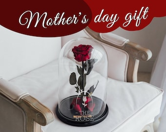 Beauty and the beast rose (Romantic red) — Mothers day gift, Rose in glass dome, Enchanted Rose, Forever rose, Preserved rose, Eternal rose