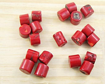 Natural Dyed Red Coral Chunky beads - Loose Irregular Drum Nuggets - Drilled Rough - mystical lucky stone