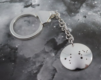 Silver Leo keyring: The constellation of Leo on a sterling silver keychain