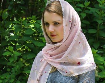 Evintage Veils~St Therese Little Flower Chapel Veil Mantilla Blush Rose  Floral Wrap Veil