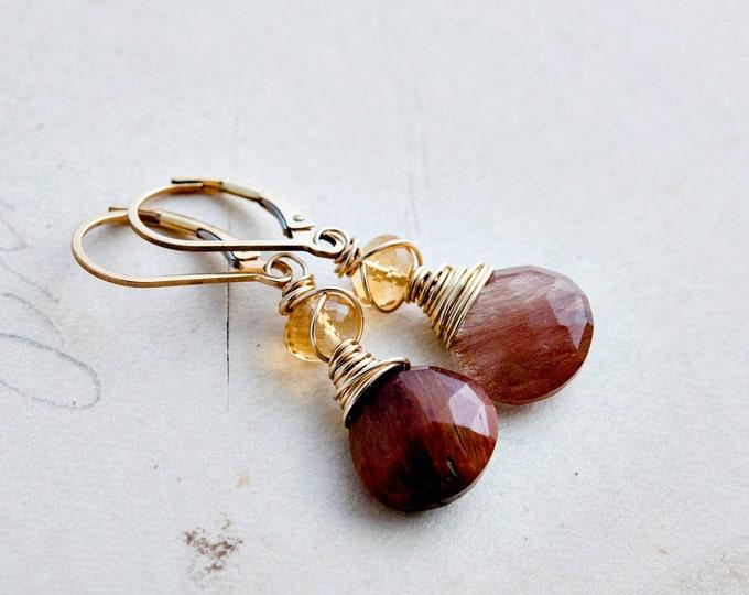 Rutilated Quartz Earrings, Gold Earrings, Citrine Earrings Gemstone Jewelry, Gold, Dangle Earrings, Drop Earrings, Gemstone Earrings,