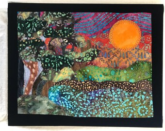 Sacred Earth Landscape  fabric art painting