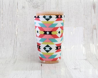 Aztec Tribal Cup Cozy, Iced Coffee Cozy, Cup Sleeve, Tribal Coffee Cozy, Coffee Cuff, Insulated Cup Sleeve