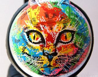 Custom Headphones -  Psychedelic Cats. Painted Music Accessories, iPhone Headphones, Unique Earphones