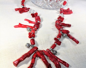 Coral necklace, coral branch, long necklace, red necklace, beaded necklace