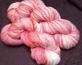 Candy Striper - NEW hand dyed sport weight sock yarn superwash Merino wool blend 274 yards 100 grams