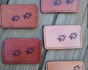 Leather Credit Card Wallet - Wolf Tracks