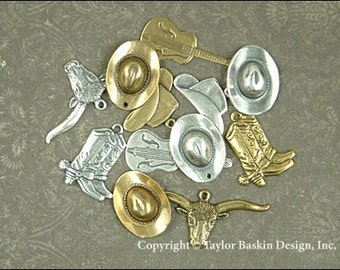 Western Cowboy, Cowgirl Charms in Antique Silver Plate, Antique Gold Plate and Antique Polished Brass - (12 pieces - Mixed Lot Sampler Pack)