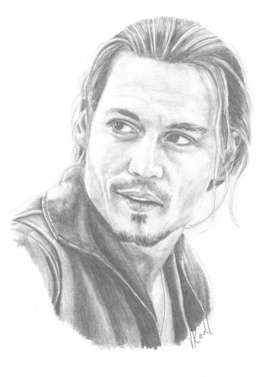 Portrait au crayon johnny depp illustr par l 39 artiste - Dessin johnny depp ...