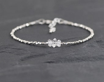 Herkimer Diamond, Sterling & Karen Hill Tribe Silver Bracelet. Dainty Beaded Stacking Bracelet. Delicate Gemstone Jewellery. Fine Jewelry