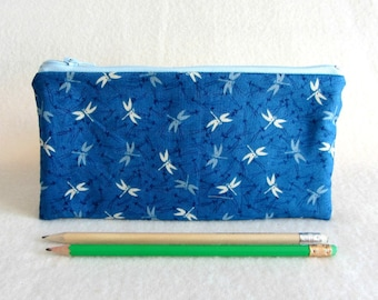 Dragonfly pencil case,  blue zipper pouch, Pencil holder, School supplies, made in France, for her, makeup pouch