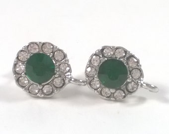 2 pcs / 1 pair Silver Green  0.5 inch Faceted Glass Crystal Earrings Posts - Jewelry Supplies Findings