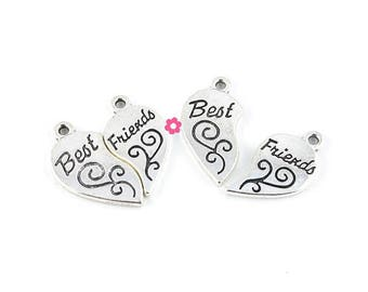 x 2 pendant silver broken heart 'best friends' 22x24mm (215 d)