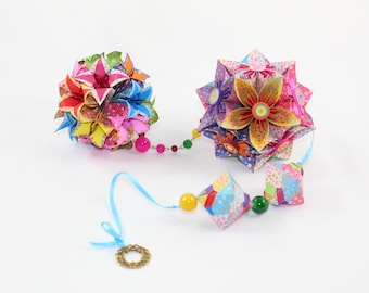 Origami Flowers / Origami Kusudama / Baby Shower Gift /Girls Room Deco / Hanging Flower / Paper Flowers