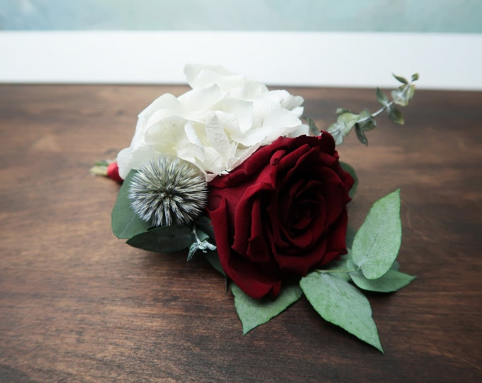 Eternal rose Preserved flower wedding boutonniere red burgundy white green thistle real rose hydrangea eucalyptus boho buttonhole for groom