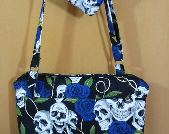 Skulls/Roses Black and Blue Crossbody Bag and coin pouch