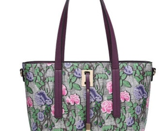 Statement faux leather floral tapestry drape bead tote bag with detachable strap mauve
