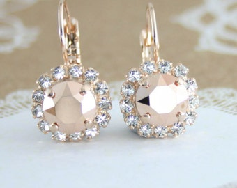Rose gold earring,Swarovski rose gold crystal earring,crystal earring,crystal stud earrings,rose gold wedding,rose gold bridal jewelry