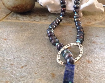 SOLD via Art Fair - Beautiful Blue Fresh Water Pearl, Lapis and Swarovski Crystal | Lariat Necklace