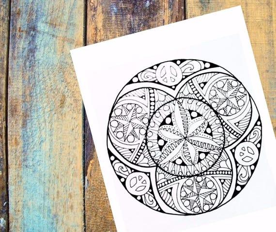 Adulto para colorear Mandala hippie flores colorear página