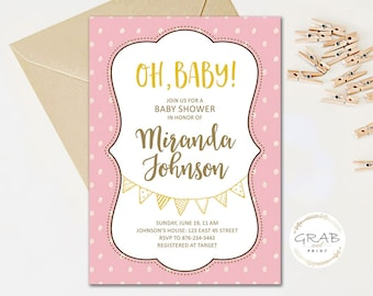 Girl's Baby Shower Pink Invite, Boy's Baby Shower Blue Invite, Blush Pink Baby Shower Invitation, Blue Baby Shower Invitation