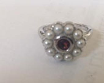 Pearl and Garnet Sterling Silver Ring