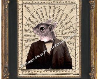 Victorian Steampunk Squirrel Man Art Print 8 x 10 - The Gentleman Mr. Squirrel