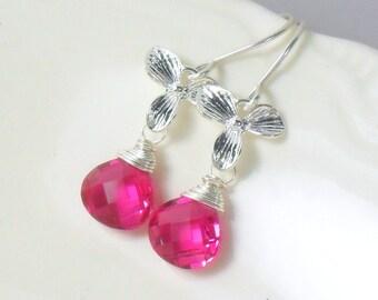 Hot Pink Quartz Orchid Sterling Dangle Earrings