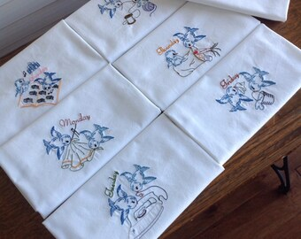 Days of the Week set of 7 flour sack towels, tea towels, embroidered, vintage pattern tea towels, Blue birds tea towels, kitchen towel