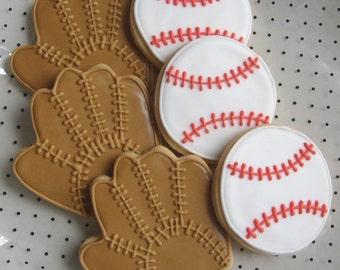 BASEBALL ANYONE -  Baseball and Baseball Mitt Decorated Cookie Favors - 12 Cookies
