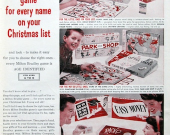 1959 Milton Bradley Board Games Ad - 1950s Family Game Night, Chutes & Ladders, Candy Land, Rack-O - Vintage Advertising