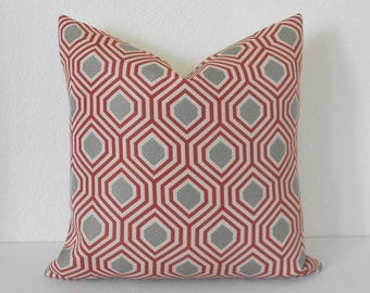 Red and gray modern geometric decorative pillow cover