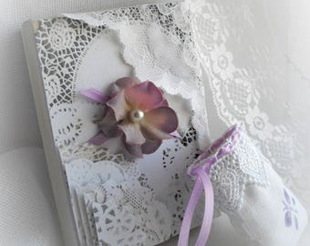Lace Gift Box Hand Decorated Box Ring Bearer Lace Doilies White Lavender Butterfly Hydrangea Gift Box Jewelry Pouch by Marilyn handcraftusa