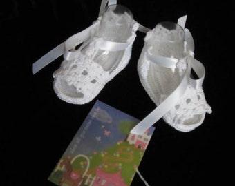 Crochet White Baby Girl Booties Chrictening Baby Girl Booties Newborn baby shoes Crochet Baby sandals girl summer shoes
