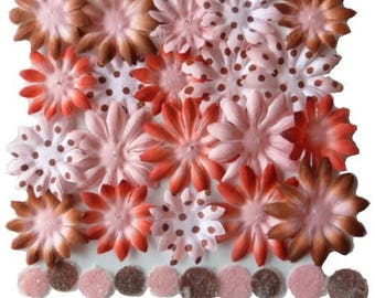 20 flowers blossoms paper + 10 PETALOO brown red pink flower centers