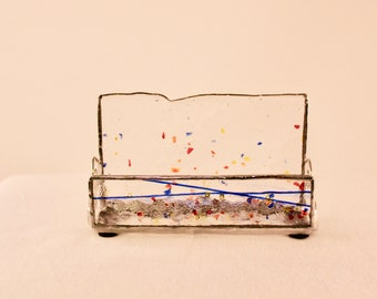 Stained Glass Business Card Holder - Business Card Holder - Office Decor - Clear/Blue Business Card Holder - Desk Accessory