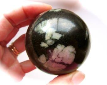 Chrysanthemum Stone Carved Crystal Sphere 55mm 266g