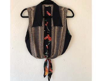 Cropped Blouse/ Knotted Blouse/ Tie Front Blouse/ Floral Blouse/ Tribal Print Blouse