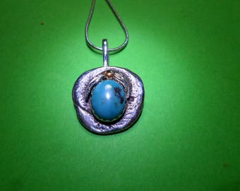 Pendant, turquoise...sterling silver with chain