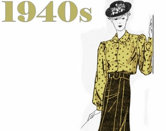 """1940s Skirt Pattern 1940s Blouse Pattern MAIL ORDER 1486 bust 34"""" Vintage Skirt Pleated Skirt Vintage Blouse 1940s Fashion 1940s Clothing"""