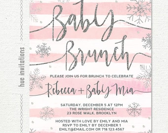 winter baby shower brunch invitation girl, snowflake baby shower invitation, pink stripes silver glitter customized printable digital file