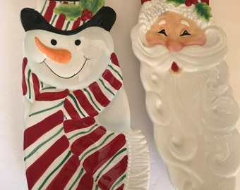 Vintage pair of  Fitz and Floyd Holiday Snack Trays features Santa Claus and Snowman-Mint Condition-